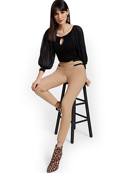Petite Whitney High-Waisted Pull-On Slim-Leg Ankle Pant - Top Stripes - New York & Company
