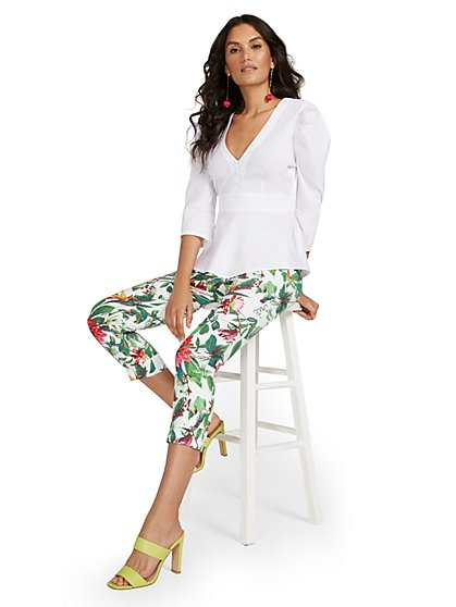 Petite Whitney High-Waisted Pull-On Slim-Leg Capri Pant - Botanical - New York & Company