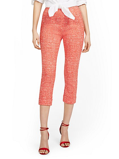 Petite Whitney High-Waisted Pull-On Slim-Leg Capri Pant - Crosshatch - New York & Company