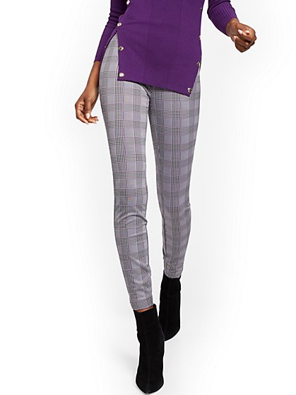 Petite Whitney High-Waisted Pull-On Slim-Leg Pant - Plaid - 7th Avenue - New York & Company