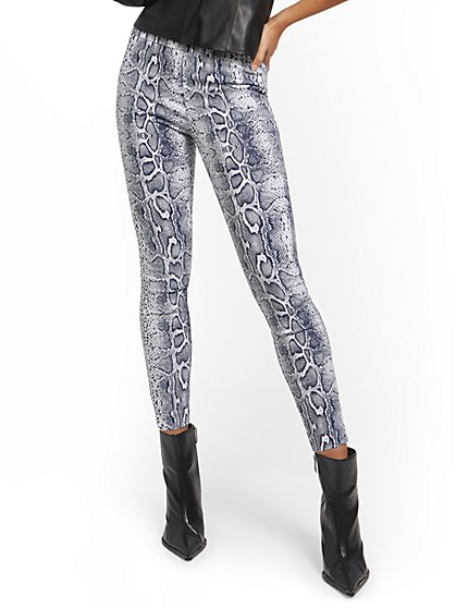 Petite Whitney High-Waisted Pull-On Slim-Leg Pant - Snakeskin - New York & Company