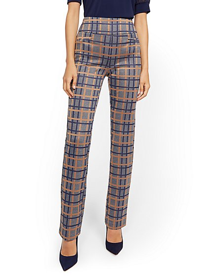 Petite Whitney High-Waisted Pull-On Straight-Leg Pant - Blue Plaid Ponte - 7th Avenue - New York & Company