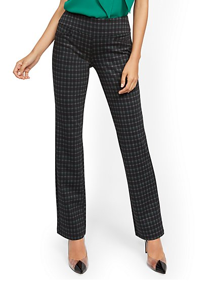 Petite Whitney High-Waisted Pull-On Straight-Leg Pant - Green Plaid Ponte - 7th Avenue - New York & Company