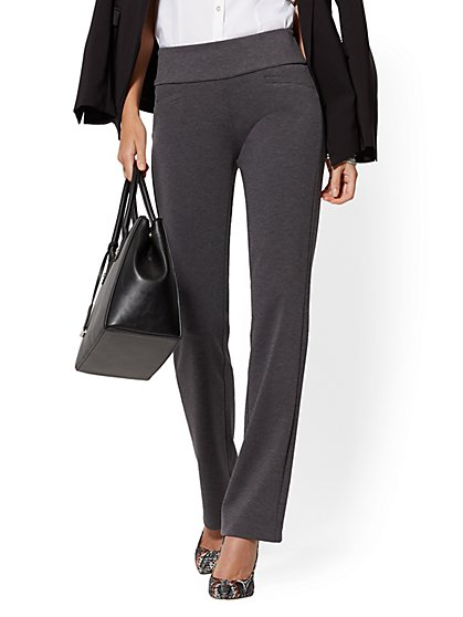Petite Whitney High-Waisted Pull-On Straight-Leg Pant - Grey Ponte - 7th Avenue - New York & Company