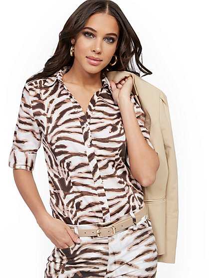 Petite Zebra-Print Madison Stretch Shirt - Secret Snap - 7th Avenue - New York & Company