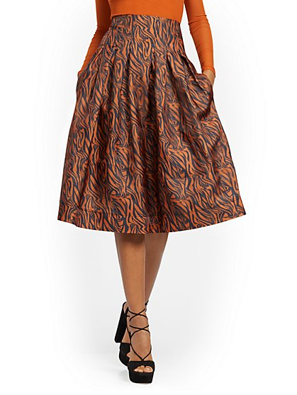 Petite Zebra-Print Pleated Skirt - 7th Avenue - New York & Company