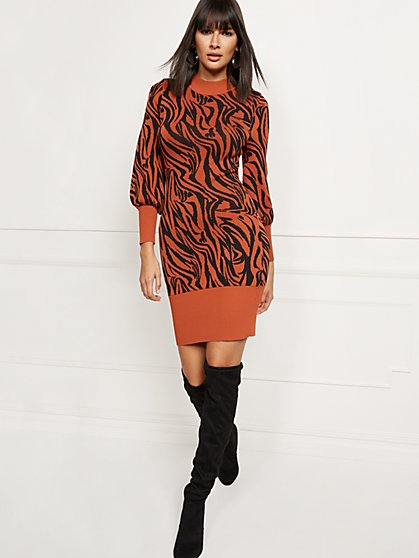 Petite Zebra-Print Sweater Dress - New York & Company