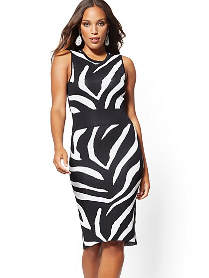 Petite Zebra-Print Sweater Sheath Dress - New York & Company