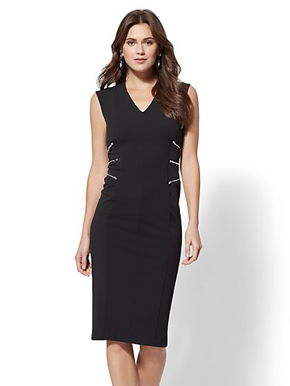 Petite Zip-Accent V-Neck Sheath Dress - New York & Company