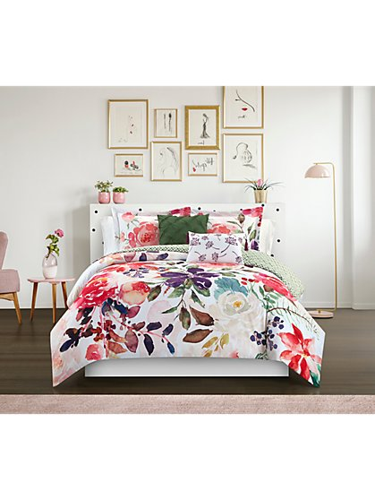 Philia Reversible Twin-Size 4-Piece Comforter Set - NY&C x Chic Home - New York & Company