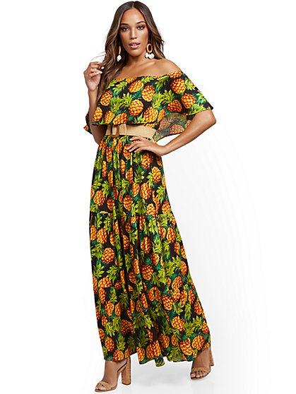 Pineapple Print Off-The-Shoulder Ruffled Maxi Dress - New York & Company