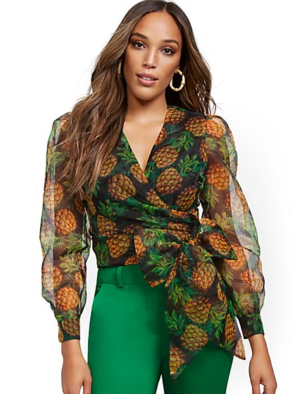 Pineapple Print Organza Puff-Sleeve Wrap Blouse - New York & Company