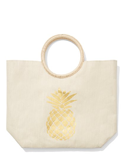 Pineapple Raffia Tote Bag - New York & Company