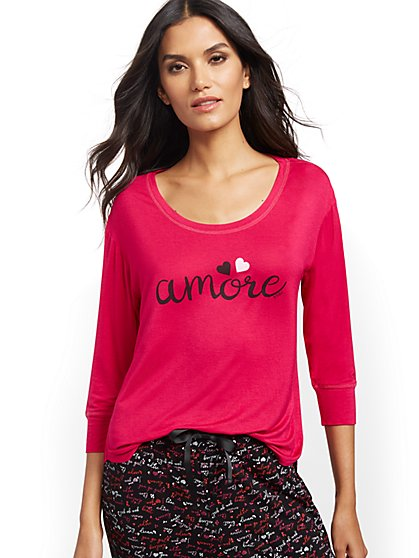 "Pink ""Amore"" Sleep Tee - New York & Company"