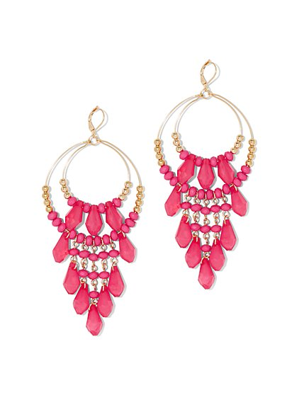 Pink Beaded Drop Earring - New York & Company