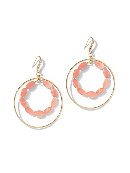 Pink Beaded Hoop Drop Earring - New York & Company
