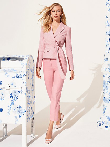 Pink Belted Jacket - City Stretch Linen Flex - 7th Avenue - New York & Company