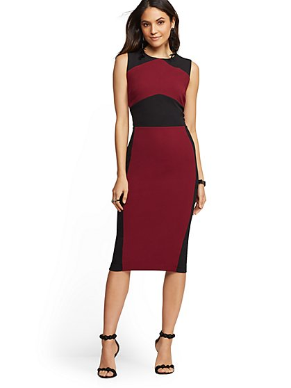 Pink & Black Colorblock Sheath Dress - New York & Company