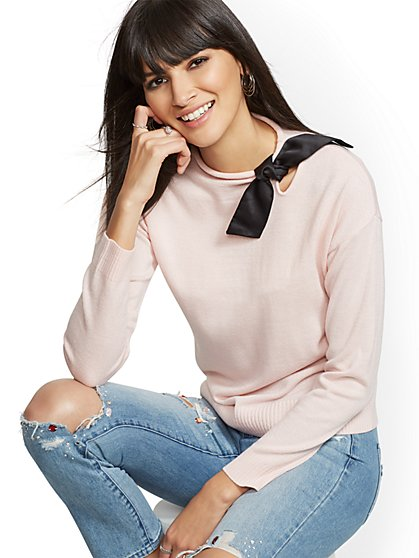 Pink Bow-Accent Sweater - New York & Company