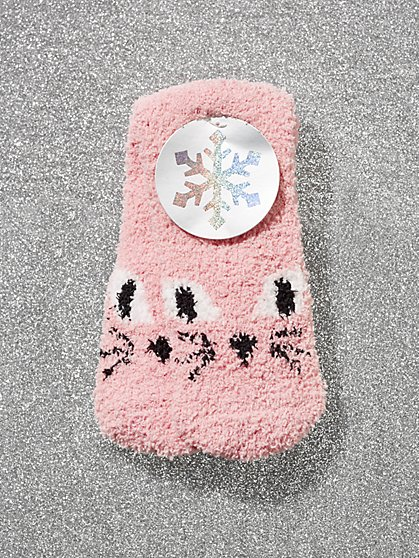 Pink Cat-Print Cozy Socks - New York & Company