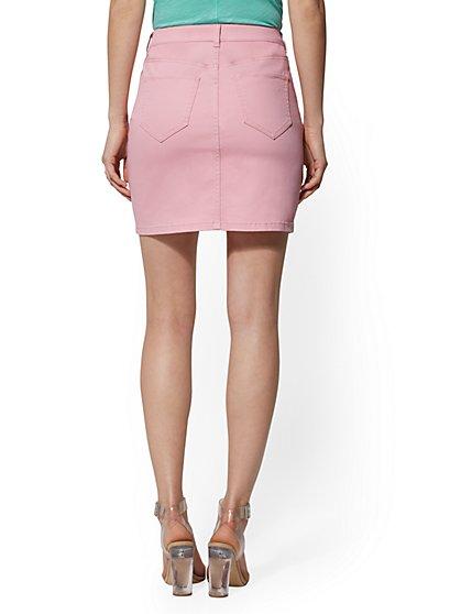 25f801143 ... Pink Destroyed Denim Skirt - Soho Jeans - New York & Company ...