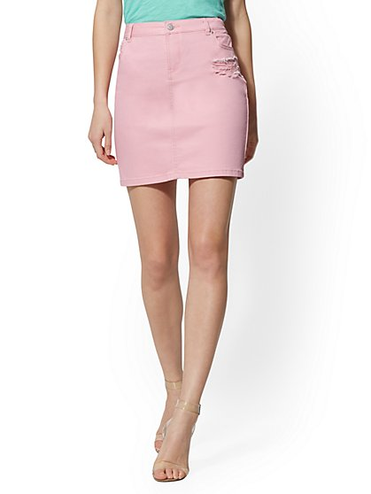 Pink Destroyed Denim Skirt - New York & Company