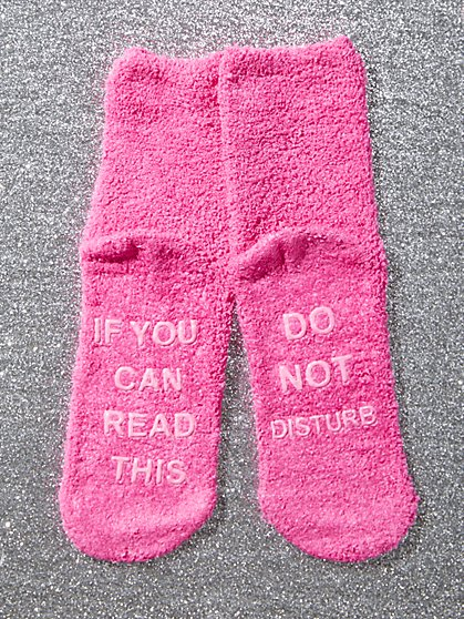"Pink ""Do Not Disturb"" Cozy Socks - New York & Company"