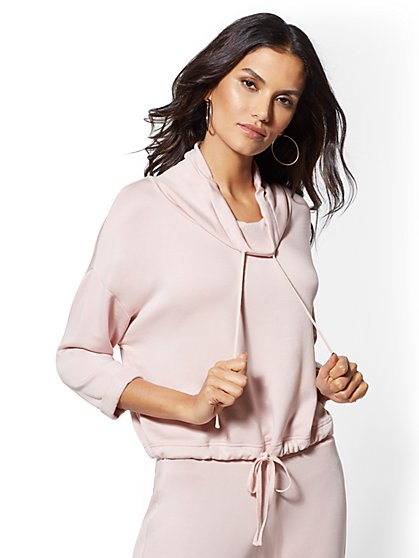 Pink Dreamy Fleece Crop Sweatshirt - Soho Street - New York & Company