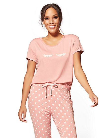 Pink Eyelashes Sleep Tee - New York & Company