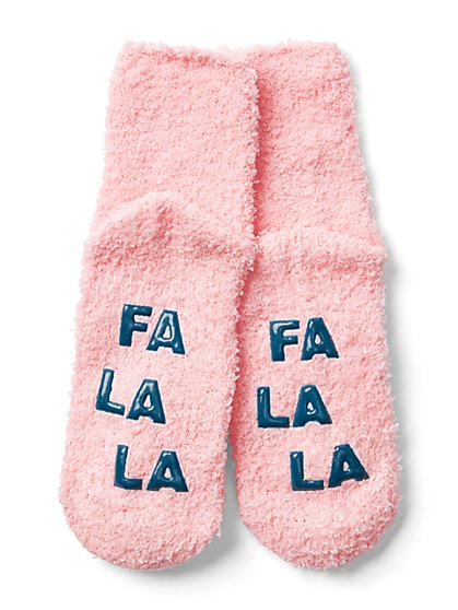"Pink ""Fa La La"" Cozy Socks - New York & Company"