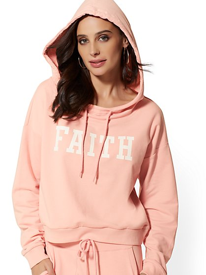 "Pink ""Faith"" Hooded Sweatshirt - Soho Street - New York & Company"