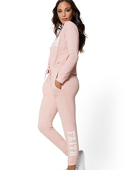 "Pink ""Faith"" Jogger Pant - Soho Street - New York & Company"