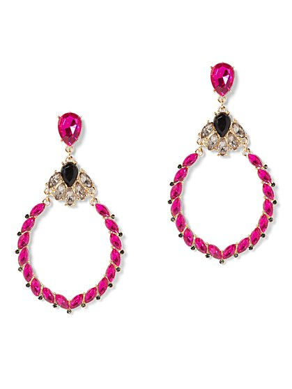 Pink Faux-Stone Hoop Drop Earring - New York & Company