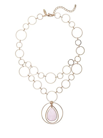 Pink Faux-Stone Pendant Necklace - New York & Company