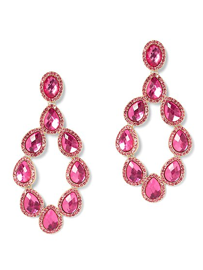 Pink Faux-Stone Statement Drop Earring - New York & Company