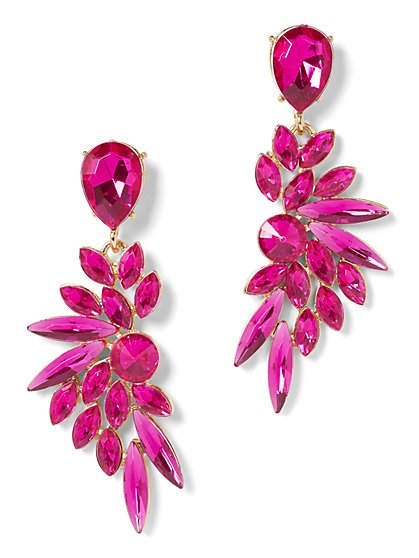 Pink Faux-Stone Statement Earring - New York & Company