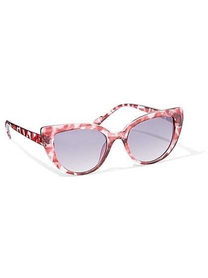 Pink Faux-Tortoise Cat-Eye Sunglasses - New York & Company