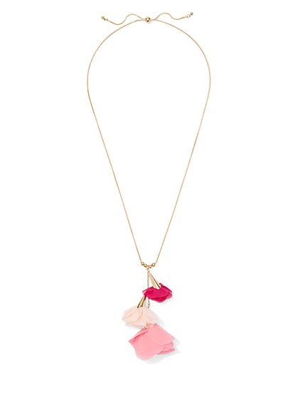 Pink Floral Pendant Necklace - New York & Company