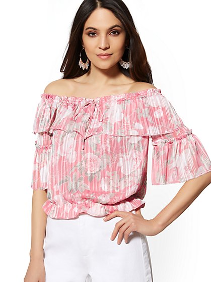 Pink Floral Ruffled Off-The-Shoulder Blouse - New York & Company