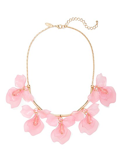 Pink Floral Statement Necklace - New York & Company