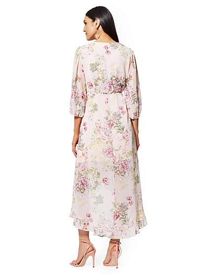 a75ac89ffcf0 ... Pink Floral Wrap Maxi Dress - New York & Company
