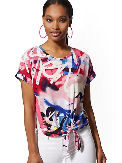 Pink Graffiti-Print Tie-Front Tee - New York & Company