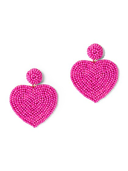 Pink Heart Drop Earring - New York & Company