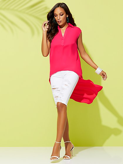 Pink Hi-Lo Tunic Shirt - Sweet Pea - New York & Company