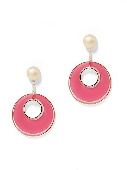 Pink Hoop Drop Earring - New York & Company