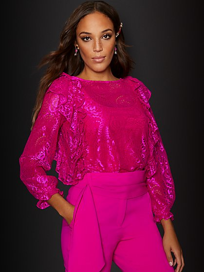 Pink Lace Ruffle Blouse - New York & Company
