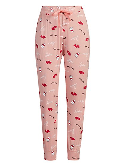 "Pink ""Lashes Coffee Love"" Jogger Pajama Pant - New York & Company"