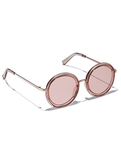 Pink-Lens Round Sunglasses - New York & Company