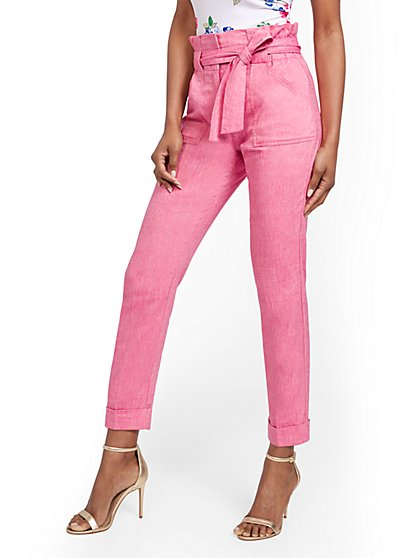 Pink Linen-Blend Paperbag-Waist Slim Ankle Pant - New York & Company