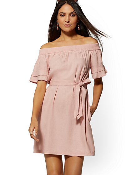 Pink Linen Off-The-Shoulder Shift Dress - Soho Street - New York & Company